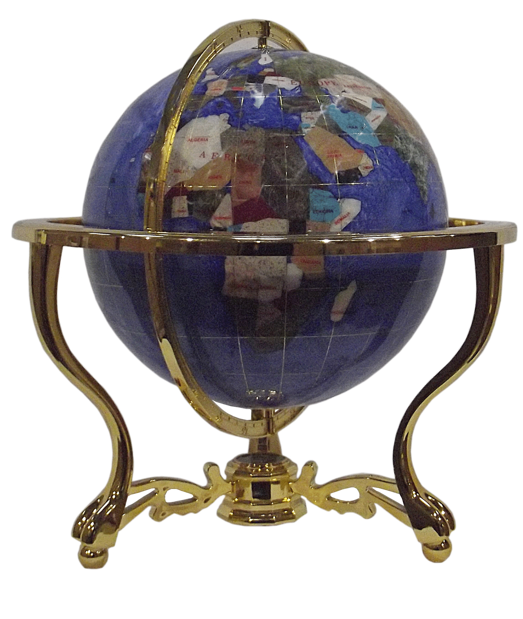 gemstone globe tabletop 33 cm blue cambridge 3 leg stand gold finish gemmoglobe 3pb 33 d bleu c. Black Bedroom Furniture Sets. Home Design Ideas
