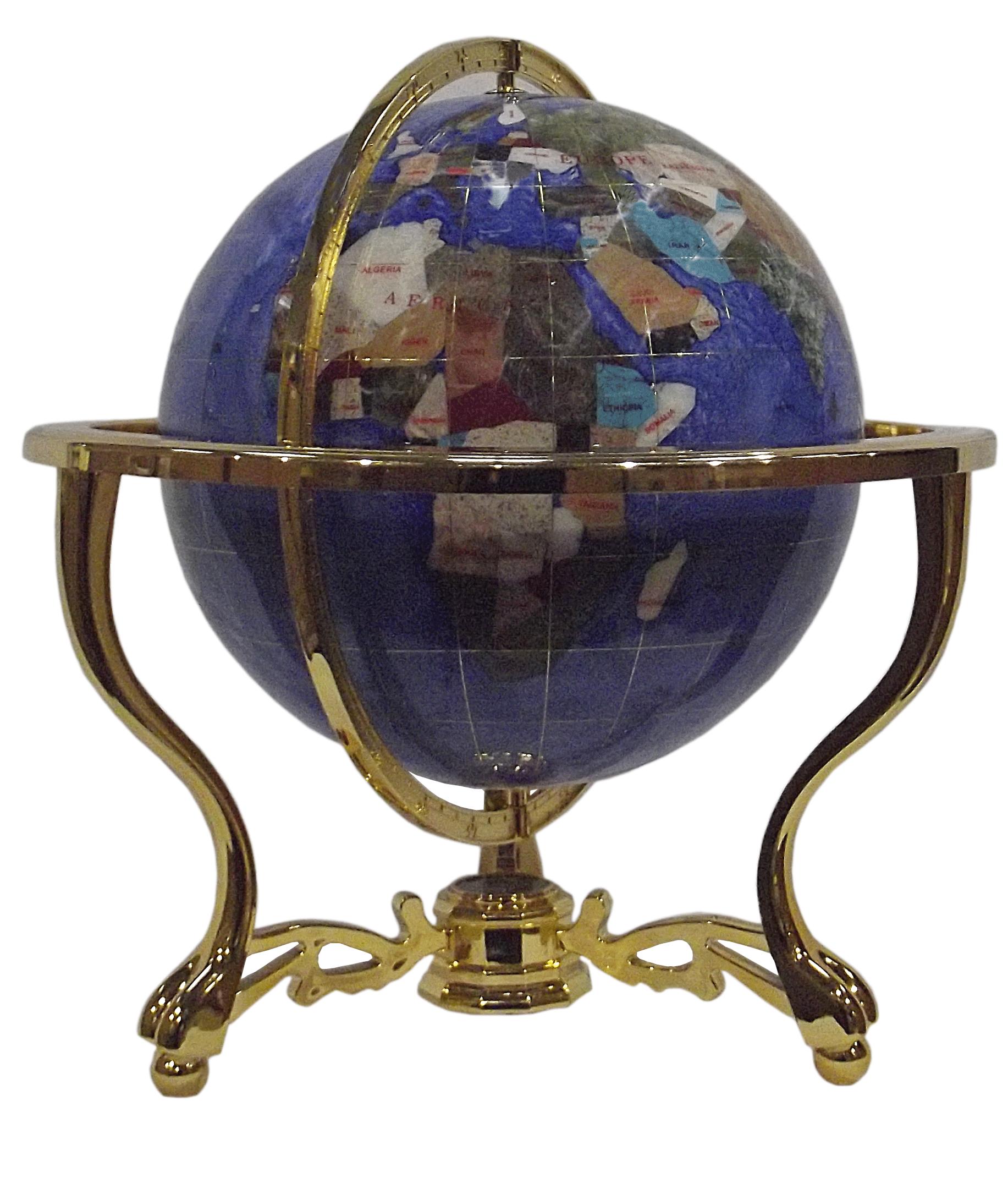 gemstone globe tabletop 33 cm blue cambridge 3 leg stand gold finish gemmoglobe 3pb 33 d bleu c. Black Bedroom Furniture Sets. Home Design Ideas