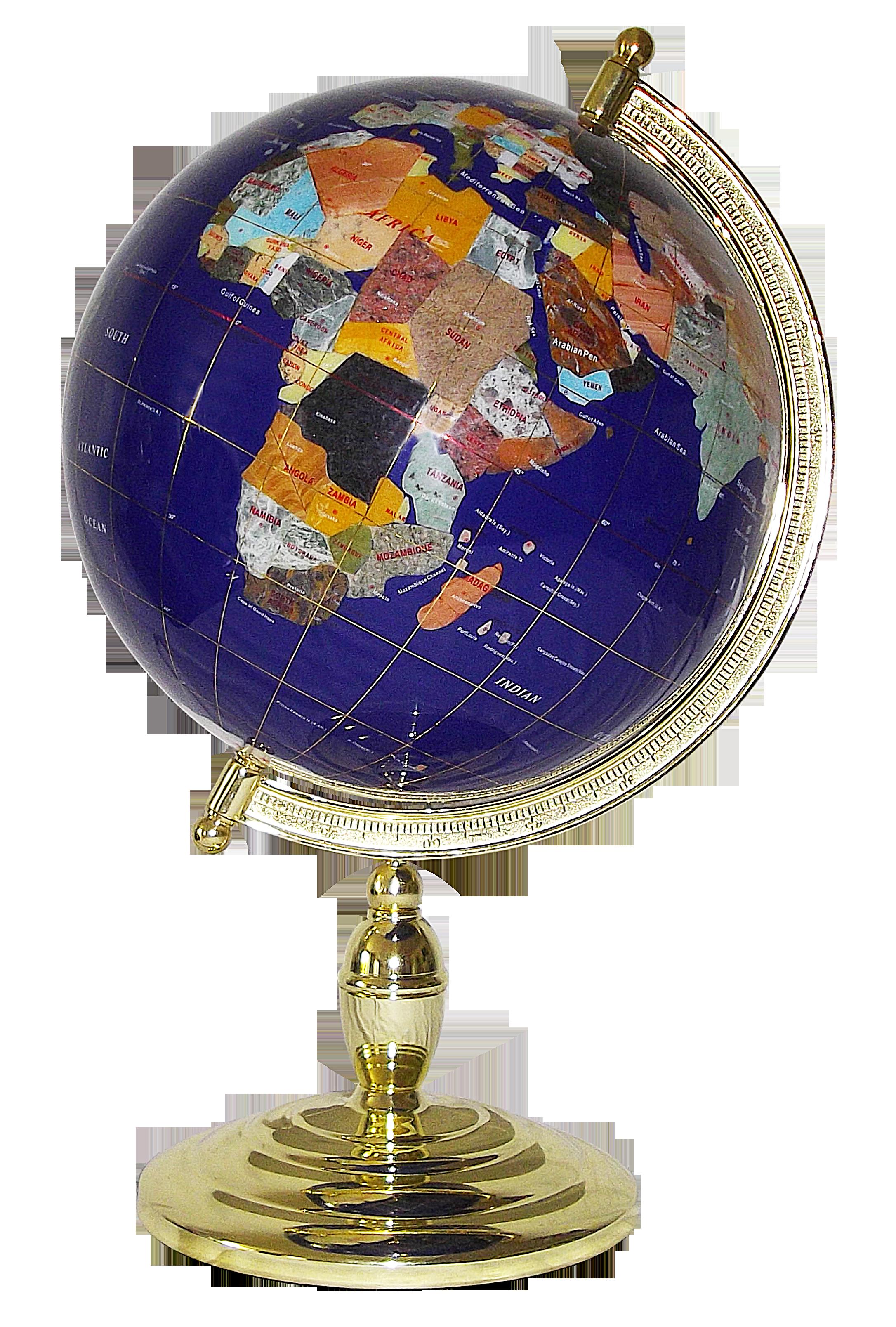 Globe terrestre de bureau 33 cm bleu 1 pied dor - Porte cle photo plastique transparent ...